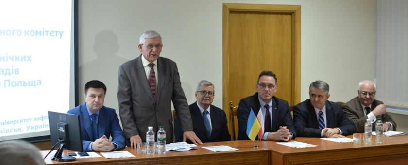 """The Presidium of the Ukrainian and Polish members of the organizing Committee (left to right): Deputy Chairman of the Ivano-Frankivsk regional state administration I. Pasichniak, Rector of IFNTUOG Ye. Kryzhanivskyi, rector of the Poznan Polytechnic University T. Lodygowski, rector of the Opole University of technology M. Tukendorf, President of educational Foundation """"Perspektywy"""" V. Sivinski, Vice-rector on scientific and pedagogical work and international relations of Igor Sikorsky Kyiv Polytechnic Instit"""